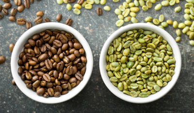 Roasted and green coffee beans